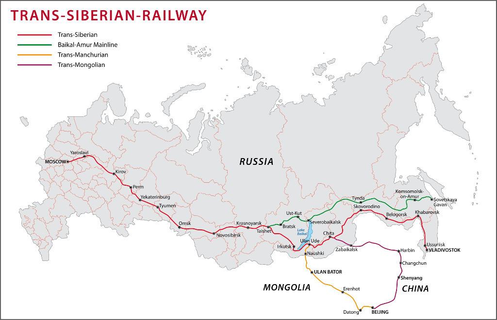 Karte Transsibirische Eisenbahn Transmongolische Eisenbahn Transmandschurische Eisenbahn Baikal-Amur-Magistrale