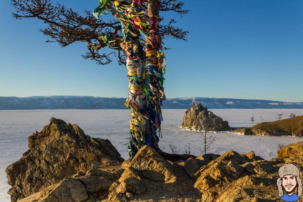 Der Wunschbaum auf der Insel Olchon im Winter mit Blick auf den Schamanenfelsen und den gefrorenen Baikalsee