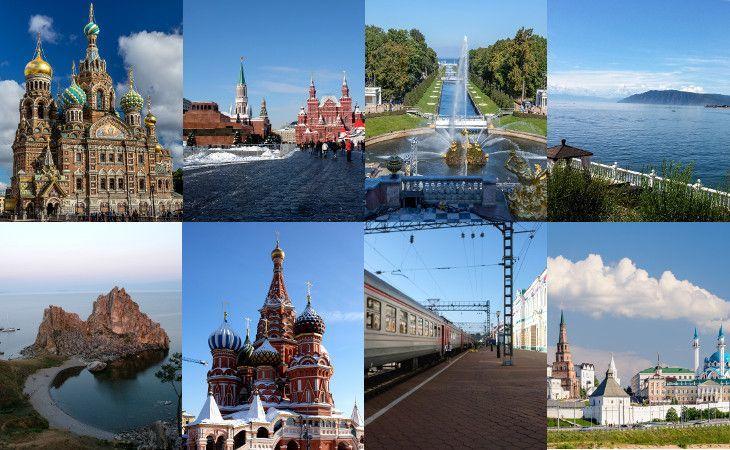 Bildmosaik toller Reiseziele in Russland