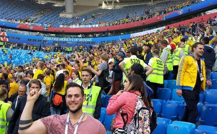 Ich bei der Fussball-WM in Russland im Stadion in Sankt Petersburg beim Spiel Schweiz gegen Schweden