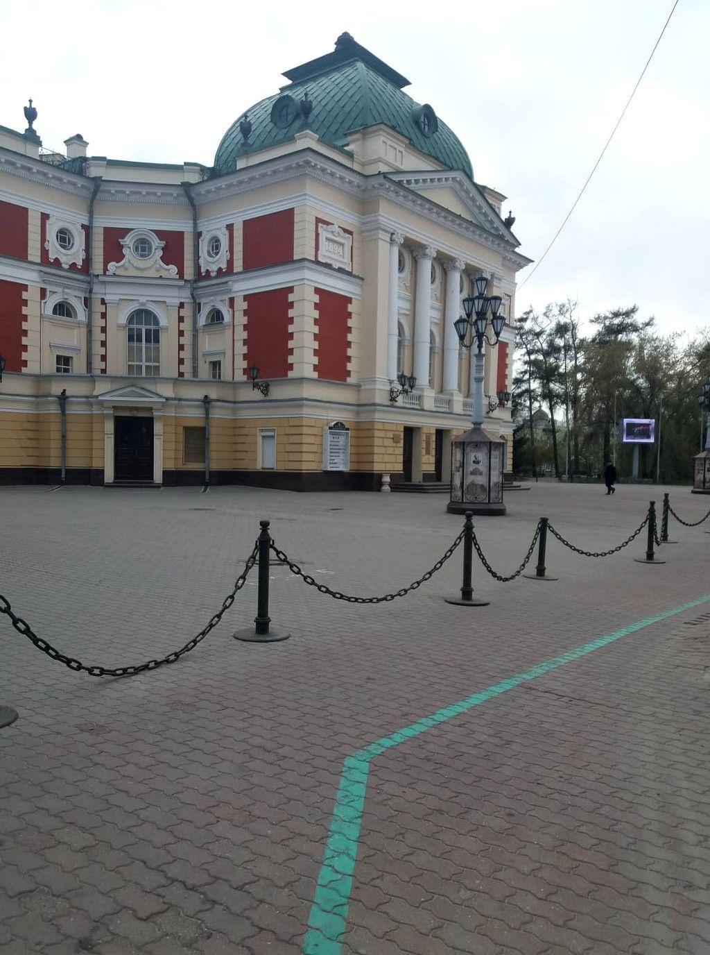 Das Okhlopkow Drama Theater an der grünen Linie in Irkutsk