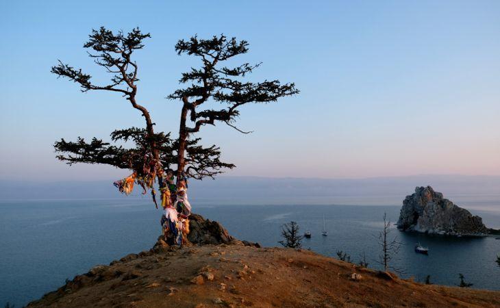 Wunschbaum auf der Insel Olchon im Baikalsee mit Blick auf den Schamanenfelsen