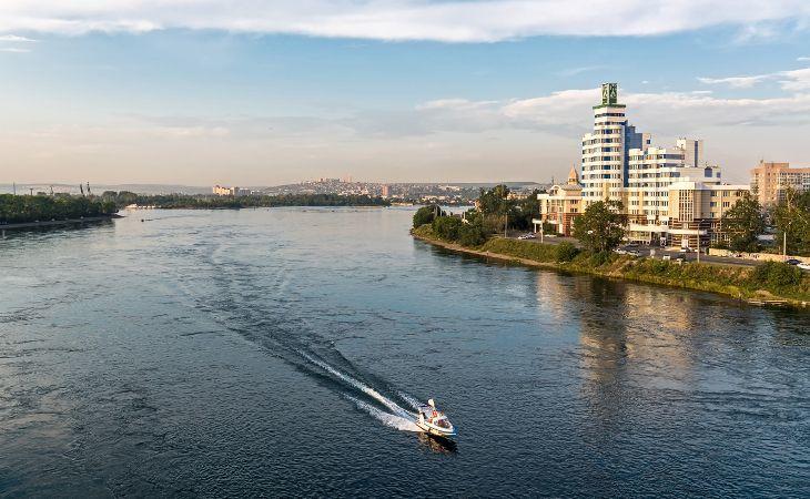 Blick auf Irkutsk und den Fluss Angara