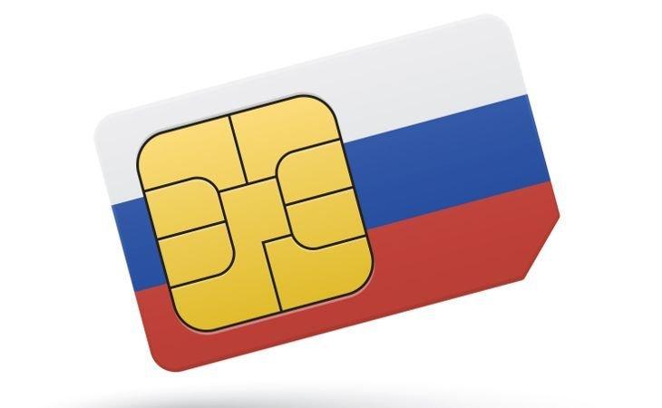 SIM-Karte mit aufgedruckter Russland-Flagge