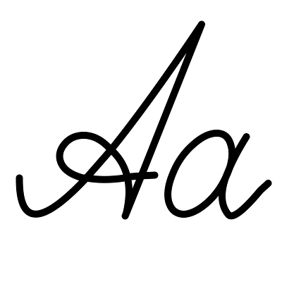 Buchstabe А а [a] Schreibschrift russisches Alphabet