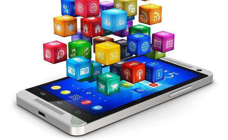 Handy mit darüber schwebenden Würfeln die verschiedene Apps symbolisieren