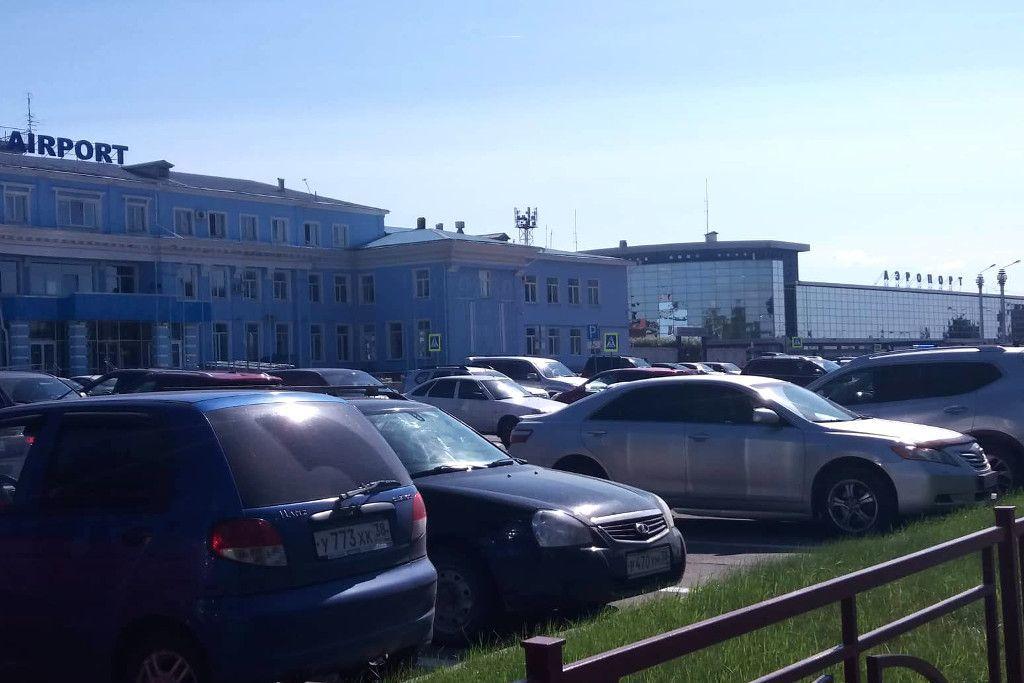 Das internationale und inländische Terminal des Flughafens in Irkutsk
