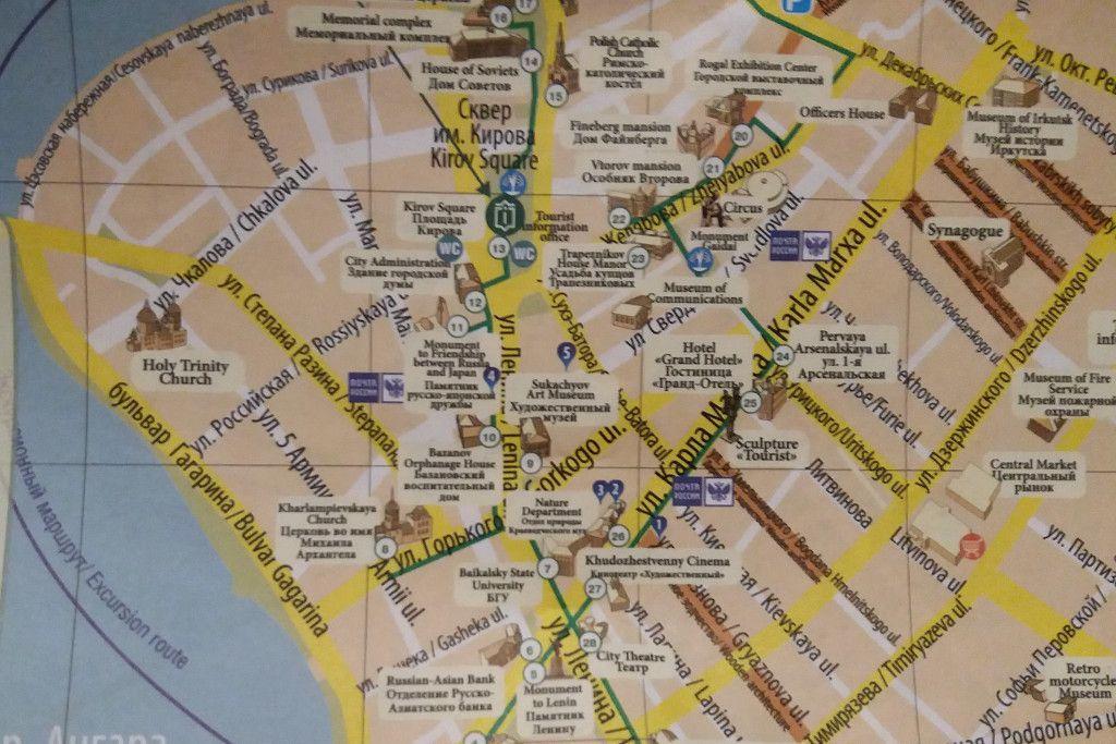 Stadtplan von Irkutsk mit einzeichneten Straßen in denen es viele Holzhäuser gibt
