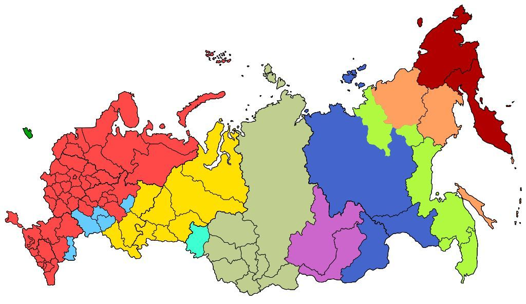 Zeitzonen Karte Russland