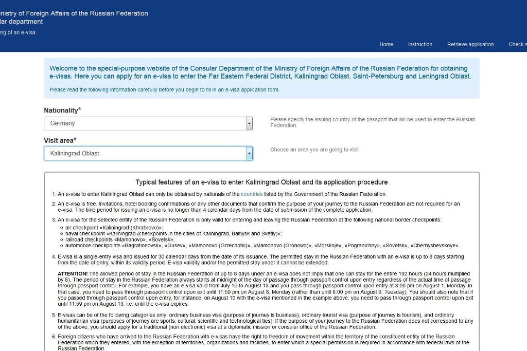 e-Visum Registrierung Kaliningrad