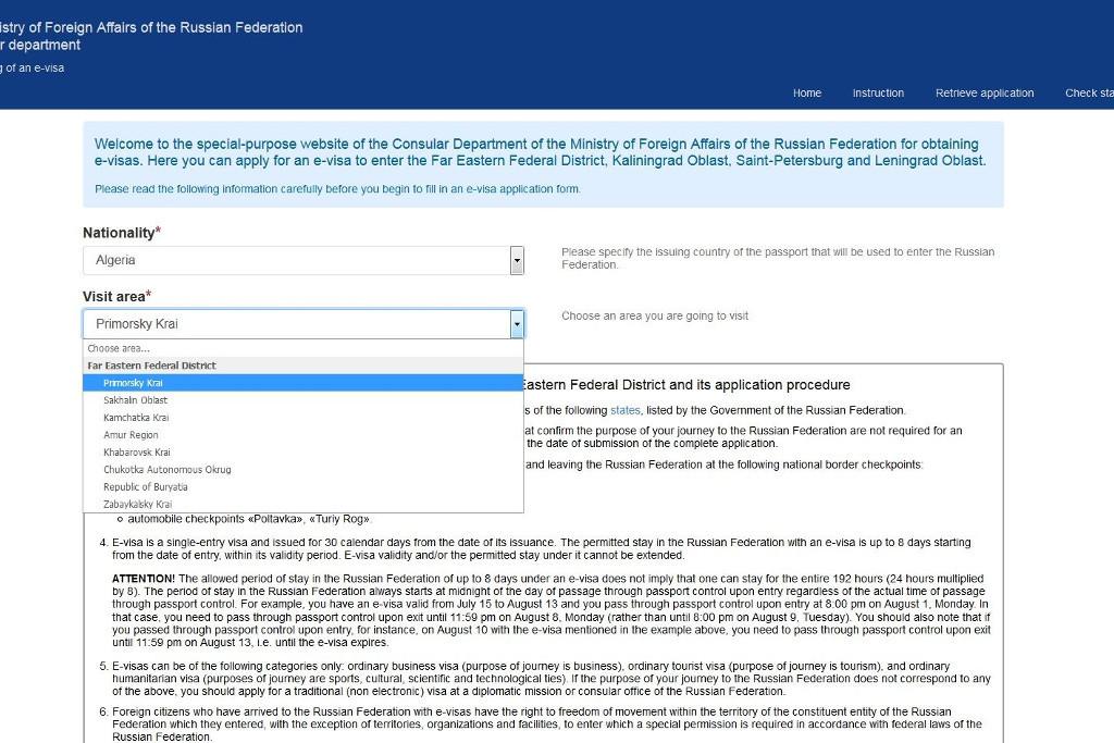 e-Visum Registrierung Ferner Osten Russland