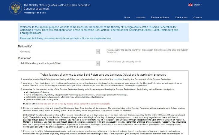 Startseite e-Visum Registrierung Russland