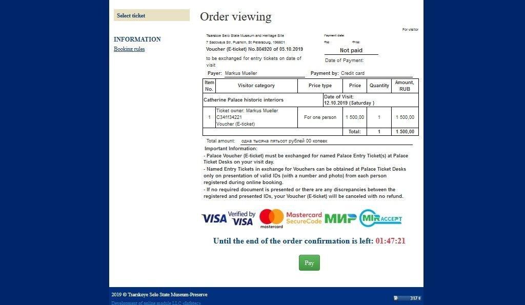Buchung Online-Ticket Katharinenpalast in Puschkin bei Sankt Petersburg