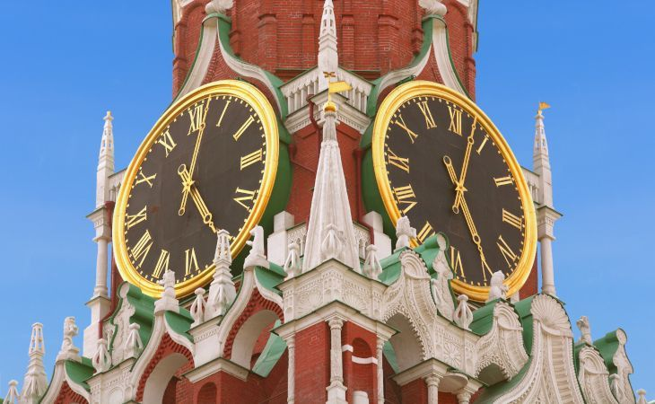 Uhren des Spasski Turm im Moskauer Kreml