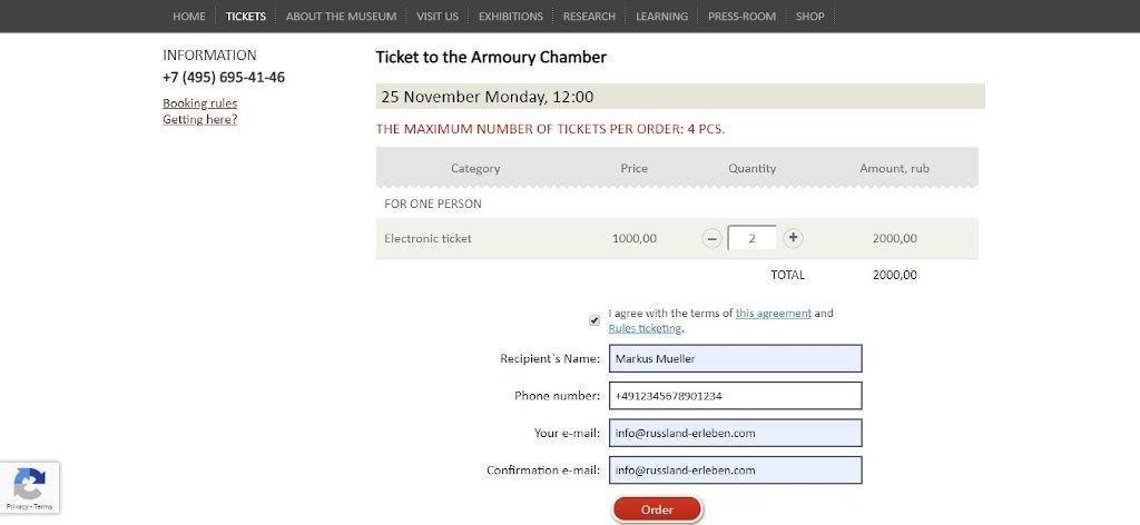 Ticketbuchung online für die Rüstungskammer im Kreml