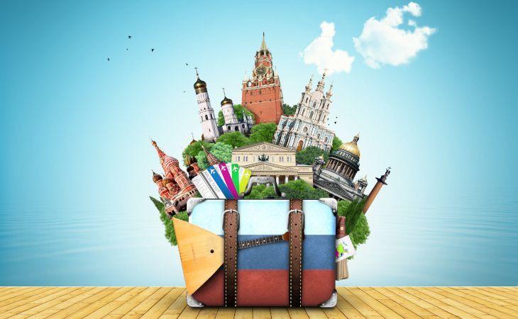 Koffer mit Sehenswürdigkeiten einer Russland Reise