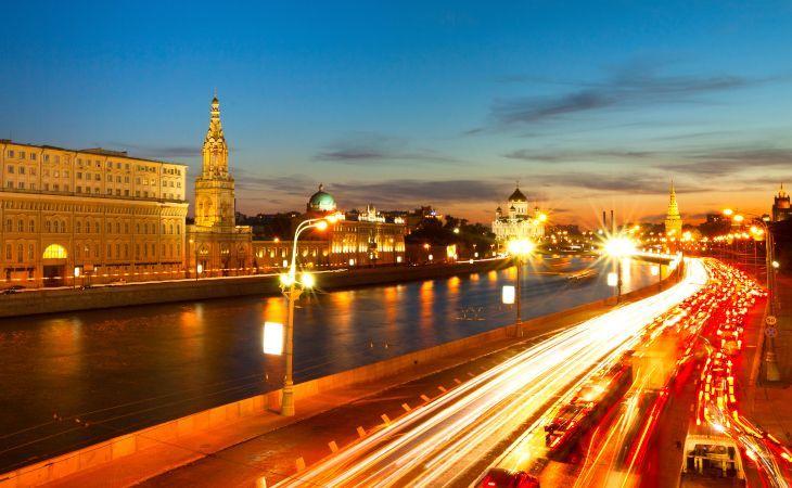 Blick auf die Moskwa in Moskau bei Nacht