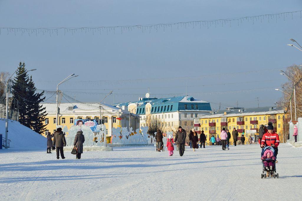 Eisskulpturen im Stadtzentrum von Barnaul