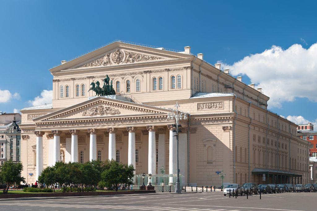 Seitenansicht des Bolschoi Theaters in Moskau