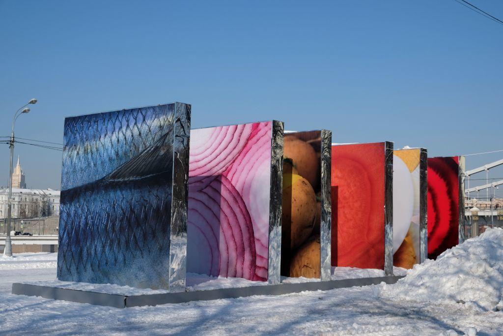 Kunstwände im Schnee
