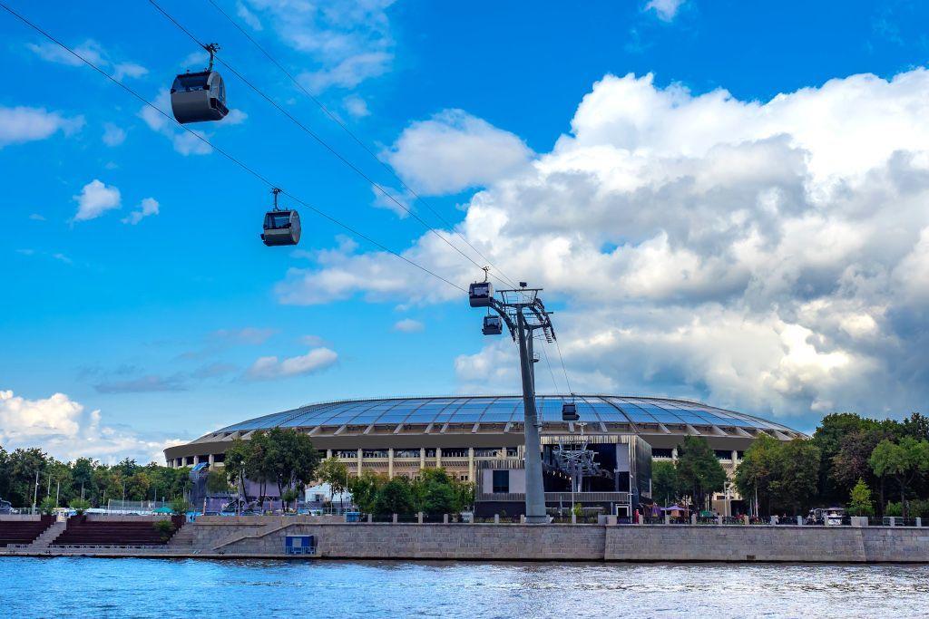 Gondelbahn vom Luschniki Stadion in Moskau auf die Sperlingsberge