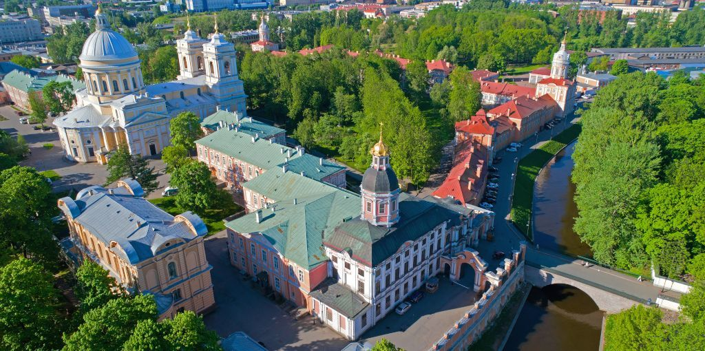 Luftansicht des Alexander-Newski-Kloster in Sankt Petersburg