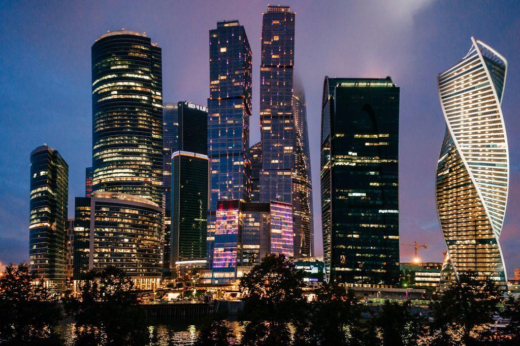 Skyline Moskau City bei Nacht