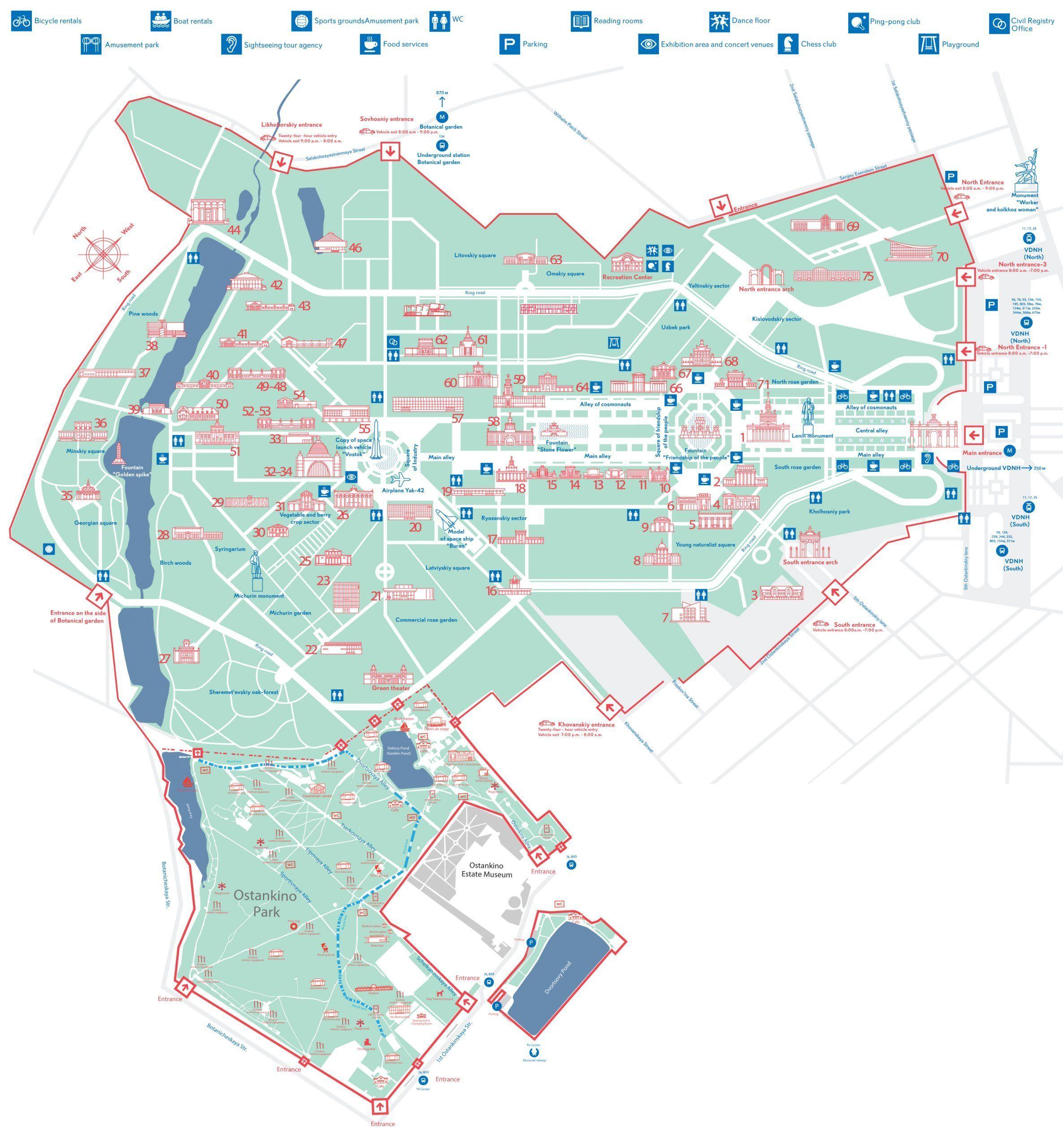 Übersichtskarte WDNCh Ausstellungskomplex in Moskau
