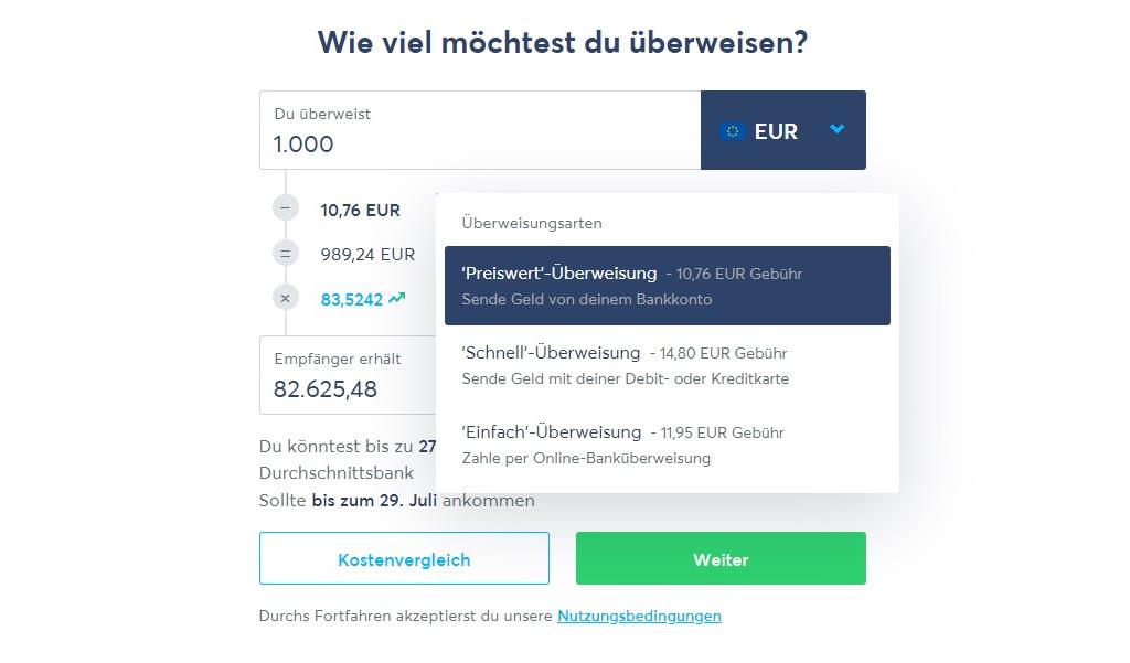 Geld nach Russland senden mit Transferwise