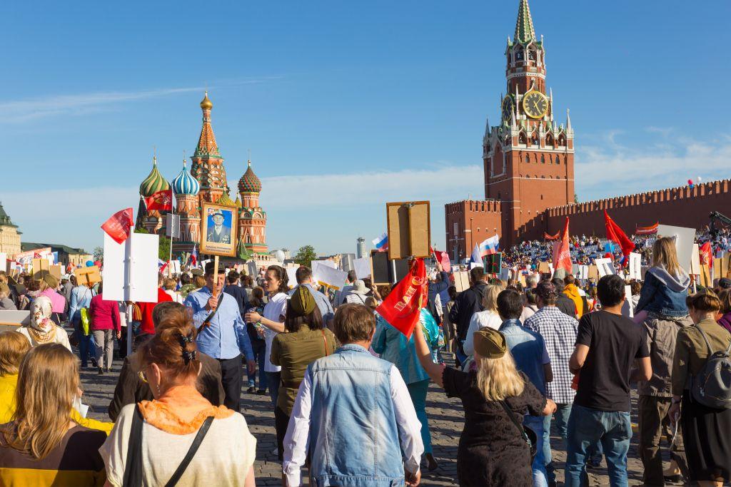 Tag des Sieges am 9. Mai in Russland auf dem Roten Platz