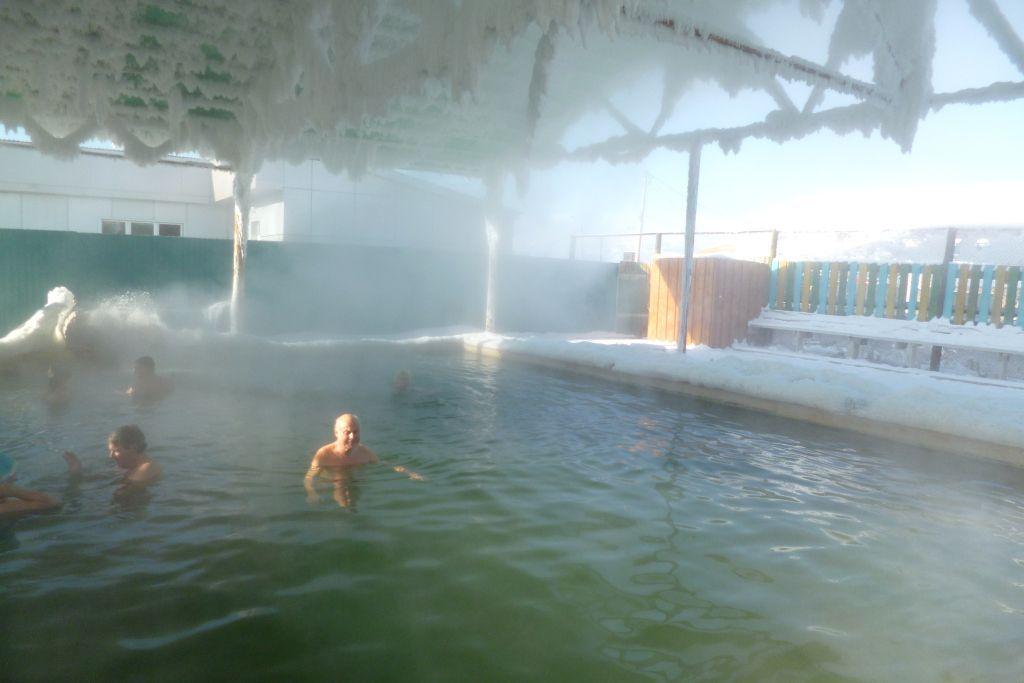 Heiße Quelle im Winter