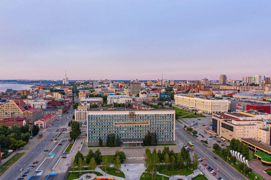 Blick auf die zentrale Esplanade in Perm